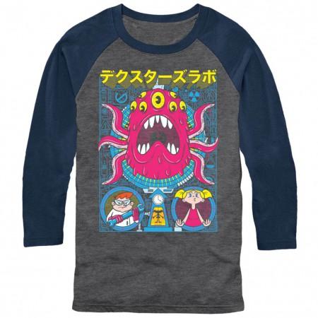 Dexter's Lab Tentacles Poster Chogrin Gray Baseball T-Shirt