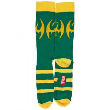 Marvel Iron Fist Dragon Symbol Crew Socks