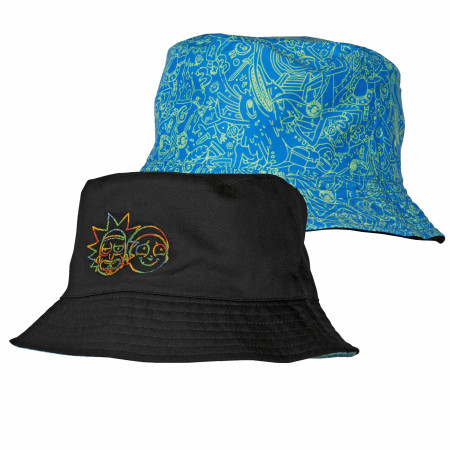 Rick and Morty Space Tie Dye Reversible Bucket Hat