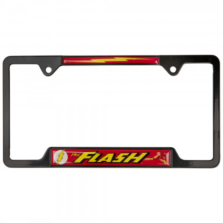 The Flash Open Black License Plate Frame by Elektroplate