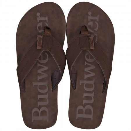 Budweiser Printed Brown Distressed Flip Flop Sandals