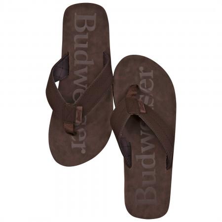 Budweiser Printed Brown Distressed Flip Flop Sandals