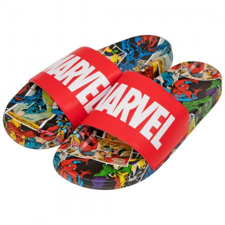 Marvel Red Label with Comic Scene Sandal Slides