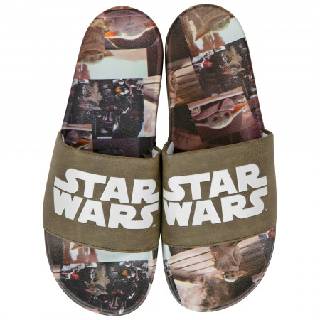 Star Wars Logo with The Child from the Mandalorian Scenes Sandal Slides
