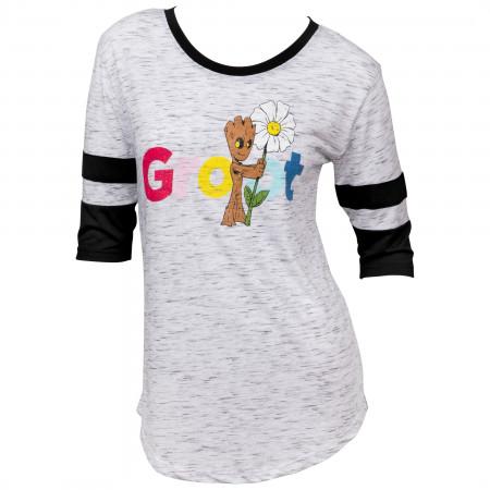 Guardians of the Galaxy Groot Flower Women's 3/4 Sleeve Scoop Neck Top