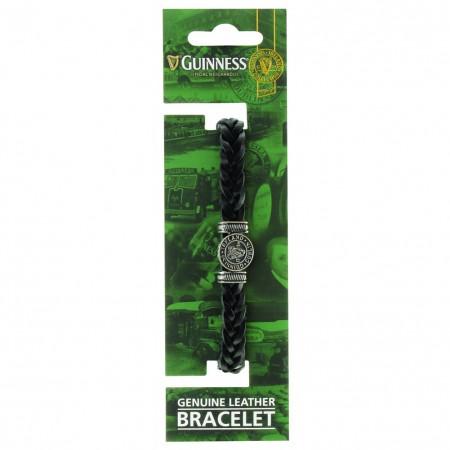 Guinness Ireland Black Leather Harp Bracelet