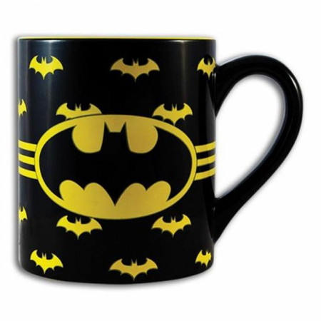Batman Logo with Wrap Around Bats 14oz Ceramic Mug