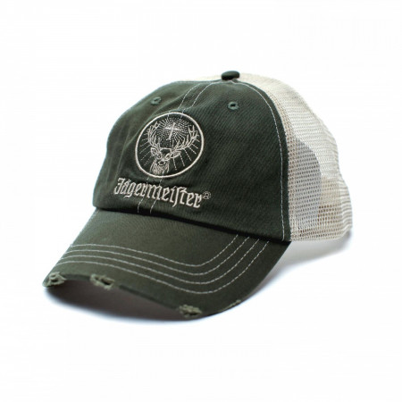Jagermeister Distressed Patch Logo Adjustable Trucker Hat