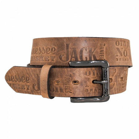 "Jack Daniel's Brown Leather Embossed 1.5"" Belt"