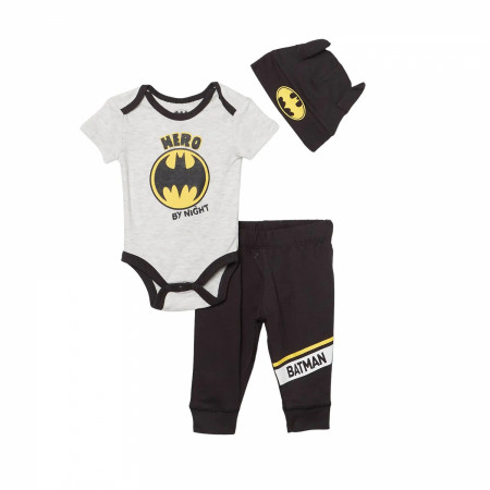 Batman Logo 3-Piece Bodysuit Set With Cap
