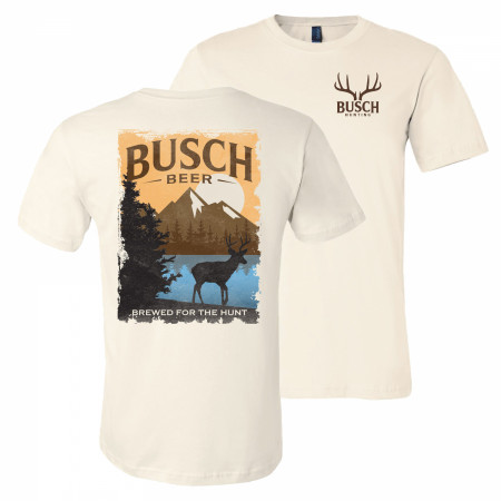 Busch Beer Brewed For The Hunt Front and Back Print Natural T-Shirt