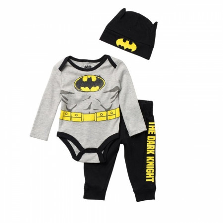 Batman The Dark Knight Costume 3 Piece Pajama Set with Hat
