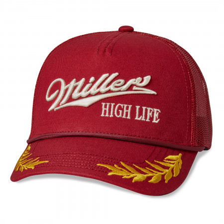 Miller High Life Logo Red Mesh Adjustable Trucker Hat
