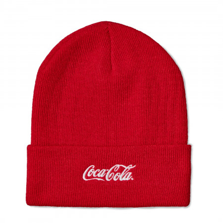 Coca-Cola Text Red Cuffed Knit Beanie