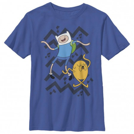 Adventure Time Finn and Jake Dance Blue Youth T-Shirt
