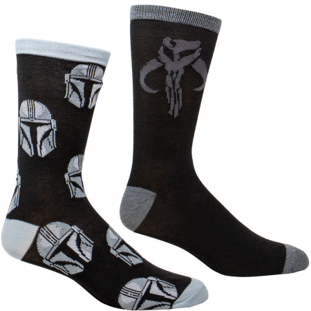 Star Wars The Mandalorian Helmet All Over Print and Mythosaur Sigil 2-Pack Socks