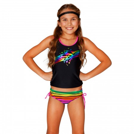 Superman Spectrum Ruffle Skirted Two Piece Swimsuit