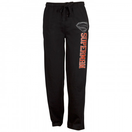 Superman Silver S Logo Black Unisex Sleep Pants