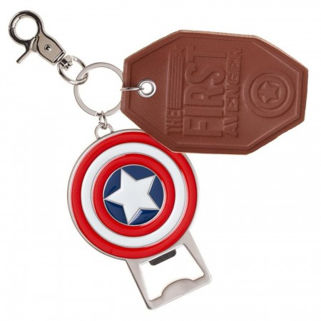 Captain America Premium Bottle Opener and Leather Key Ring