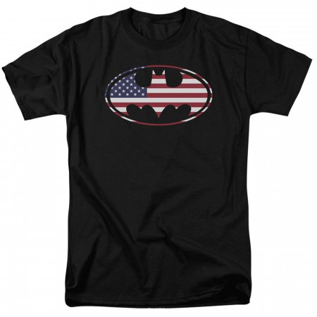 Batman American Flag Classic Logo Men's T-Shirt