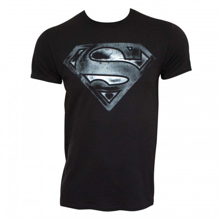 Superman Logo Black & White Distress Men's T-shirt