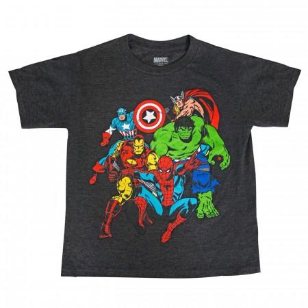 Avengers Team-up Spider-man Thor Hulk Captain America Boys T-shirt