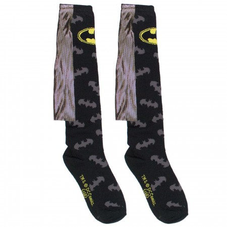 Batman Gold Foil Caped Knee High Women's Socks