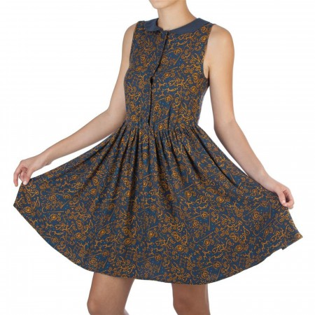 Fantastic Beasts and Where to Find Them All Over Print Collar Dress