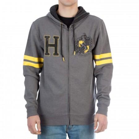 Harry Potter Hufflepuff Men's Grey Zip Hoodie