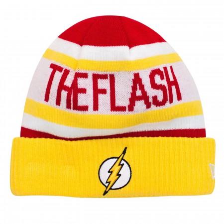 The Flash Symbol Yellow New Era Cuffed Beanie
