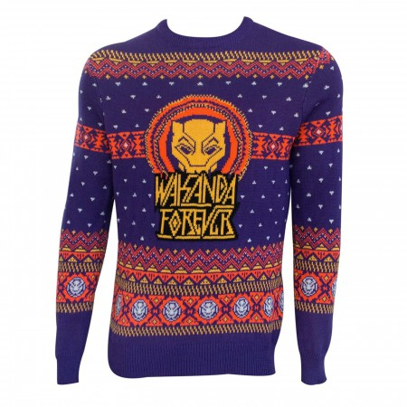 Black Panther Purple and Orange Ugly Christmas Sweater