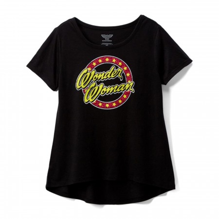 Wonder Woman Text Glitter Circle DC Girl's T-shirt