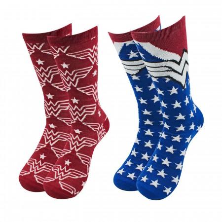Wonder Woman Stars and Symbols 2-pack Crew Socks