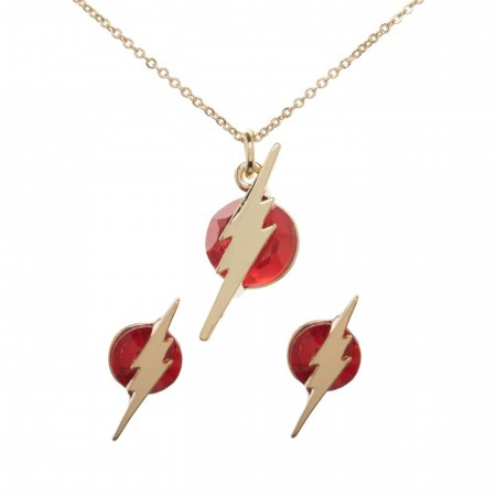 DC Comics Flash Necklace and Earring Set in Tin