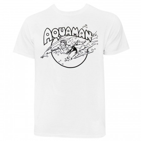 Aquaman Swimming Men's White T-Shirt