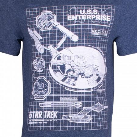 Star Trek U.S.S. Enterprise Schematic Designs Men's Blue Heather T-Shirt