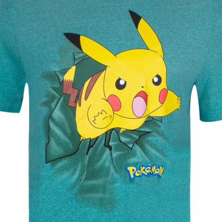 Pokemon Pikachu Jump Attack Men's Blue-Green T-Shirt