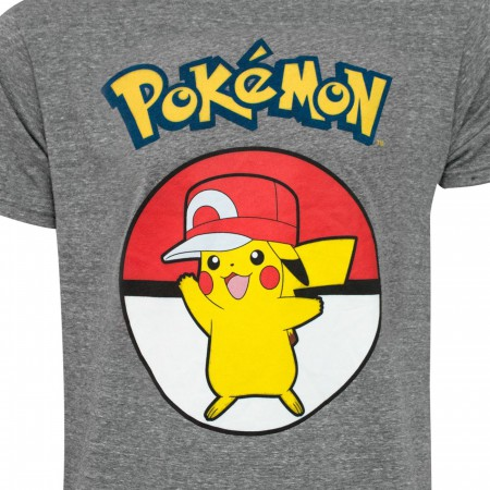 Pikachu Wearing Hip Hop Hat Men's Grey T-Shirt
