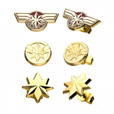 Captain Marvel Movie Earrings Stud Set