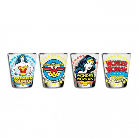 Wonder Woman Classic Comic Star Burst 4-Piece Shot Glass