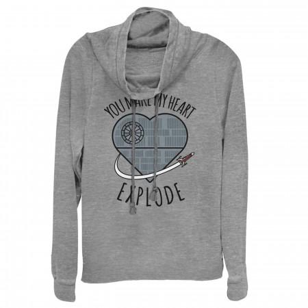 Star Wars Valentine Death Star Heart Cowl Neck Women's Sweatshirt