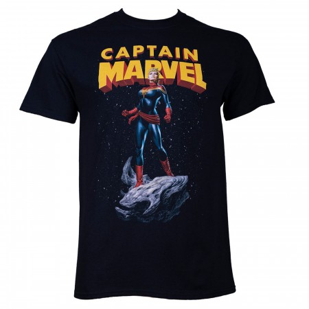 Captain Marvel Asteroid Ride Men's Black T-Shirt
