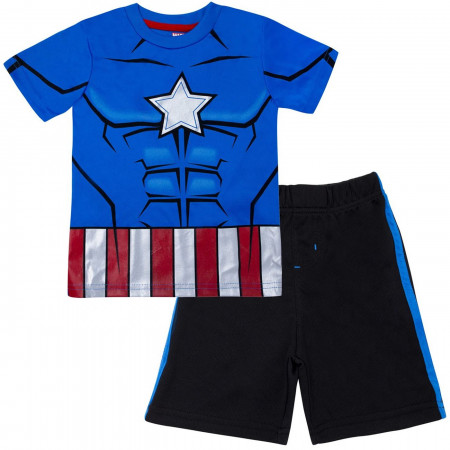 Captain America Performance Costume Kids Short Set