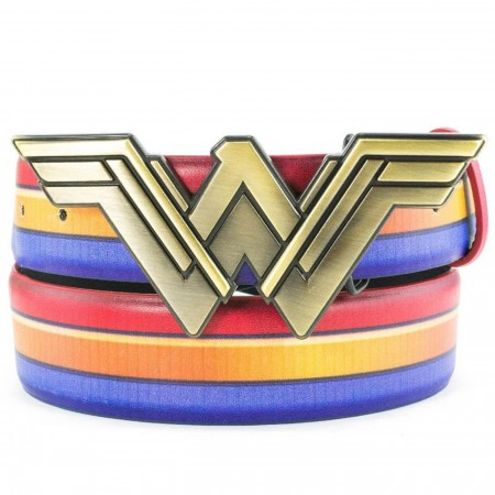 Wonder Woman Red Gold and Blue Belt with Gold Symbol Buckle