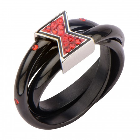 Black Widow Symbol Ring with Red Gems