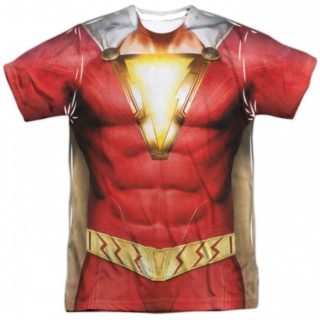 Shazam Movie Costume Uniform Sublimated Front and Back Print Men's T-Shirt