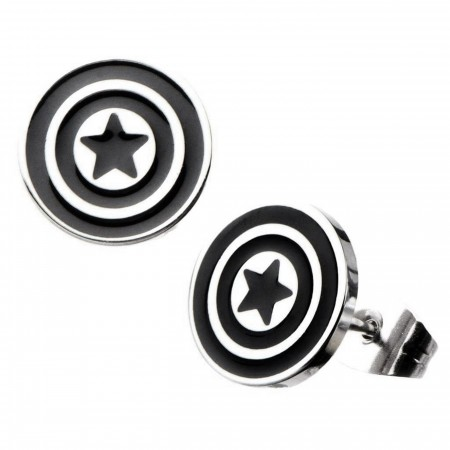 Captain America Shield Silver and Black Earring