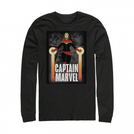 Captain Marvel In Flight Men's Long Sleeve Shirt