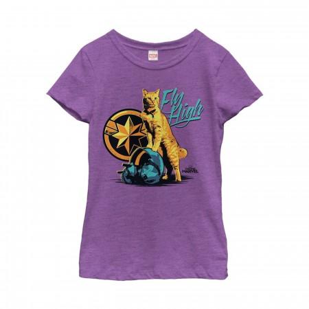Captain Marvel Fly High Goose Girl's T-Shirt