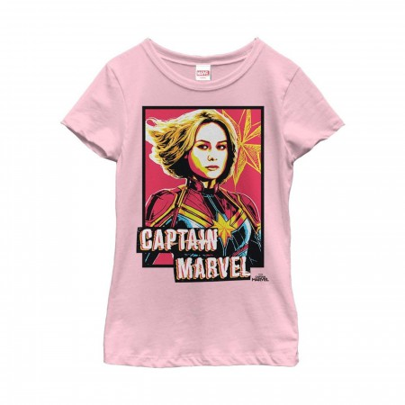 Captain Marvel Artistic Portrait Girl's T-Shirt